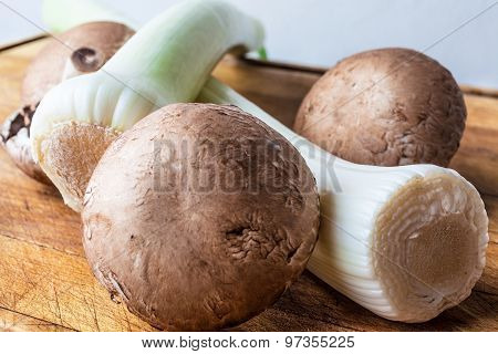 Leeks and mushrooms on cutting board low angle