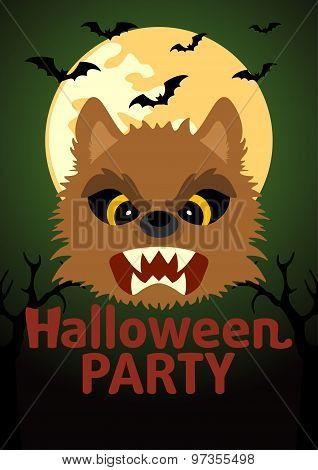 Halloween Party Banner With Werewolf