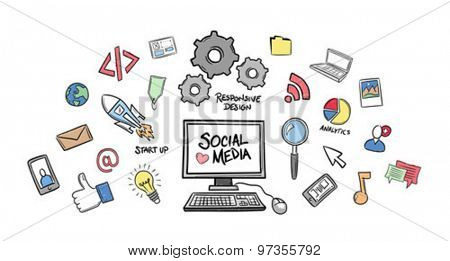 Digitally generated Social media concept vector