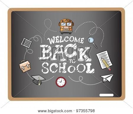 Welcome back to school message surrounded by icons vector on grey chalkboard
