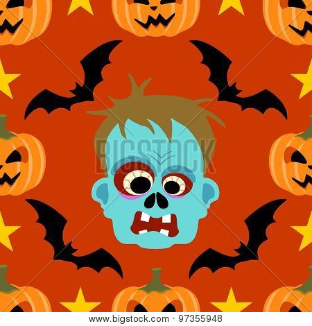 Seamless  halloween background with Zombie
