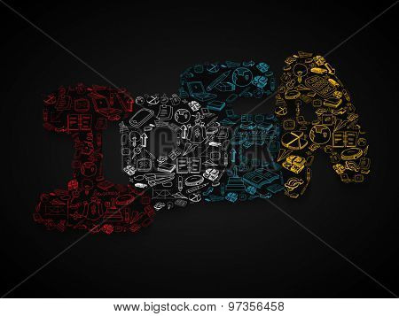 Creative illustration of various business infographic elements in shape of Idea text for Idea concept on black background.