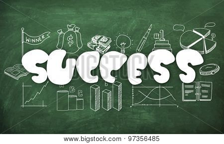 Stylish text Success with various busines infographic elements created by white chalk on green chalkboard background.