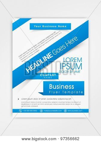 Stylish one page business flyer, banner or template design in blue and white color.