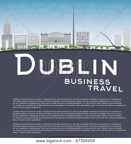 Dublin Skyline with Grey Buildings, Blue Sky and copy space. Ireland. Business travel concept. Vector Illustration