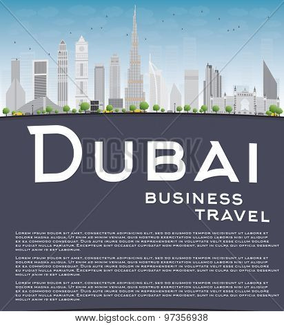 Dubai City skyline with grey skyscrapers, blue sky and copy space. Business travel concept. Vector illustration