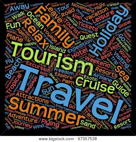 Concept or conceptual abstract summer travel or tourism word cloud or wordcloud isolated on black background