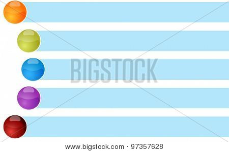 blank business strategy concept infographic diagram curved bullet list items illustration Five 5