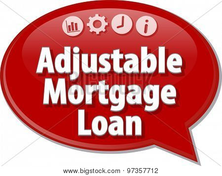 Speech bubble dialog illustration of business term saying Adjustable Mortgage Loan