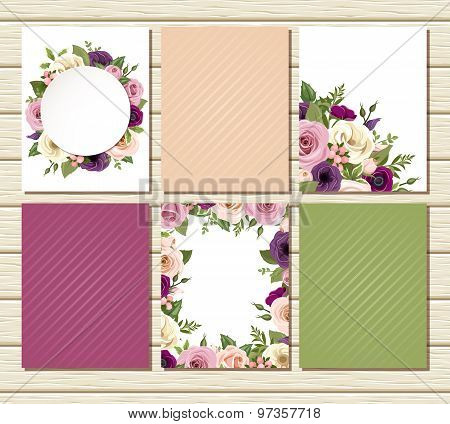 Set of flyers with colorful roses and lisianthus flowers. Vector illustration.