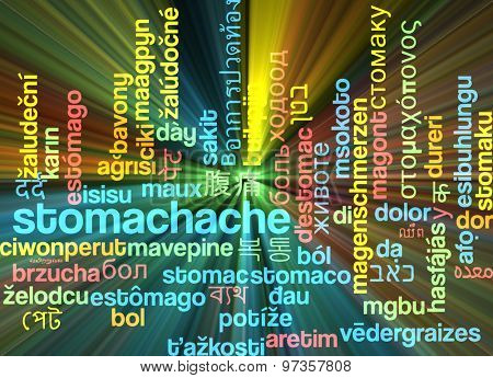 Background concept wordcloud multilanguage international many language illustration of stomachache glowing light