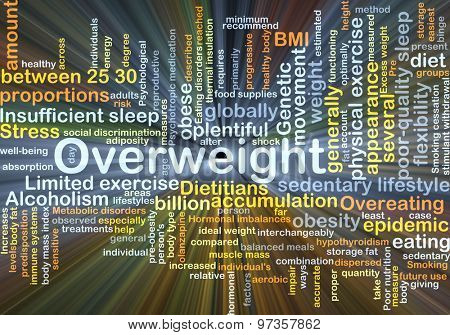 Background concept wordcloud illustration of overweight glowing light