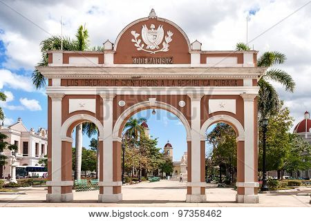 Arch Of Triumph Located In Jose Marti Park At Historical Center Of Cienfuegos, Cuba.