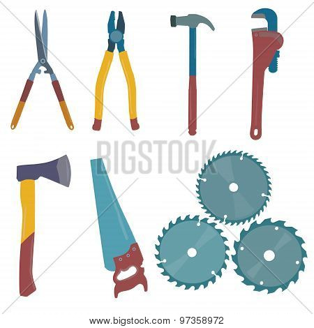 Vector illustration of the building tools