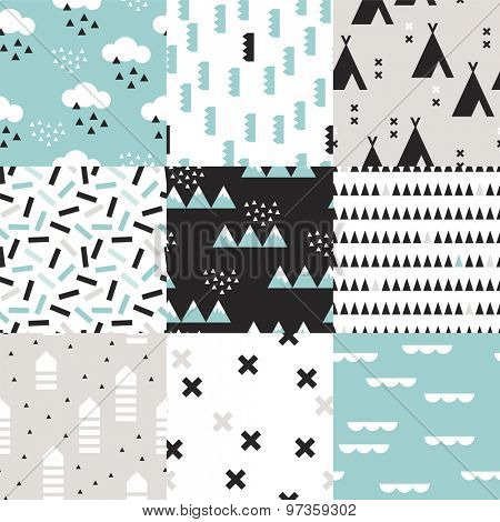 Seamless geometric woodland scandinavian abstract teepee tent plus sign cross confetti arrows and mountains illustration background set pattern in vector