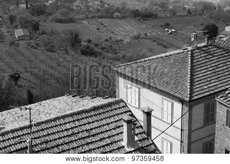 Taly. Tuscany Region. Montepulciano Town. In Black And White Toned. Retro Style