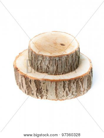 Cross sections of tree trunk, isolated on white background