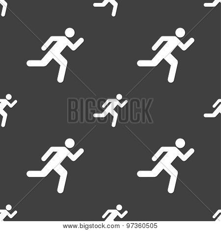 Running Man Icon Sign. Seamless Pattern On A Gray Background. Vector