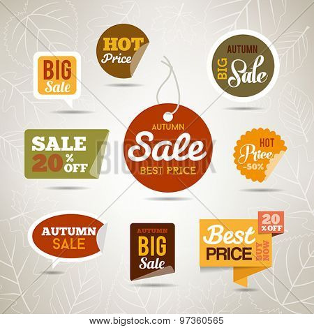 Collection of autumn sales stickers - badges with leaves and trees. Can be used fr web or print.