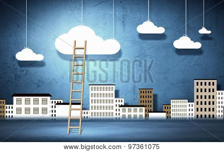 Conceptual image with ladder to white clouds