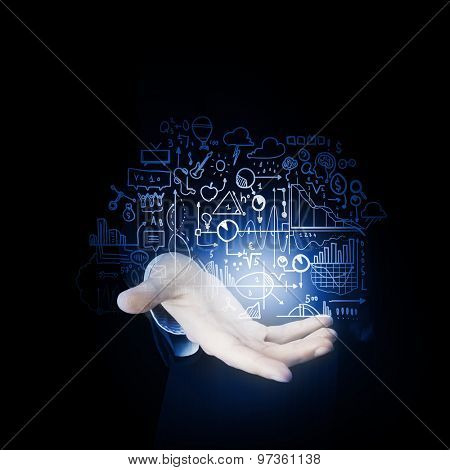 Businessman hand presenting business idea sketch on palm