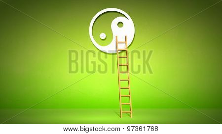 Conceptual image with ladder to yin yang symbol