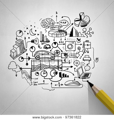 Planning concept with pencil drawing business strategy sketches