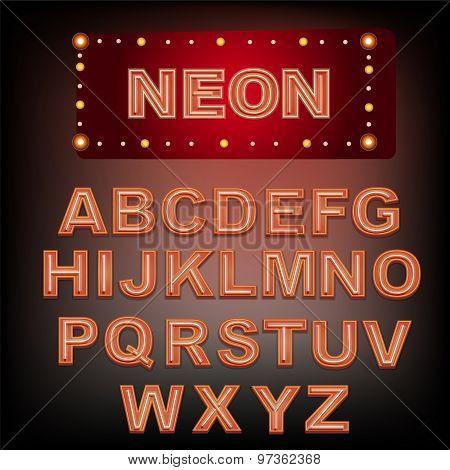 Neon Red Alphabet.