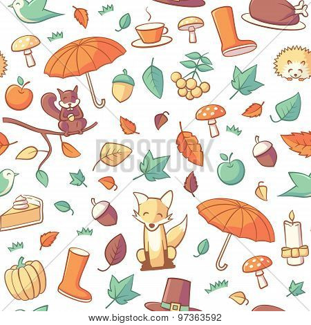 Seamless Pattern With Autumn Related Objects