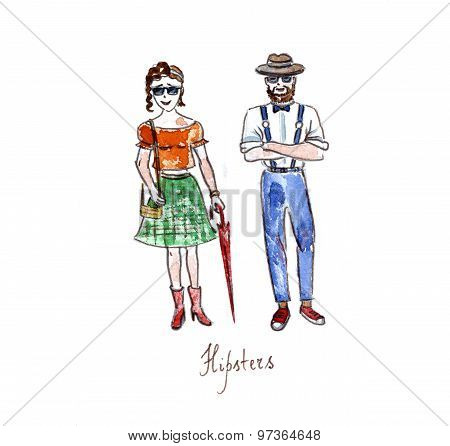 Watercolor Hipsters