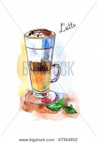 Watercolor Coffee Latte