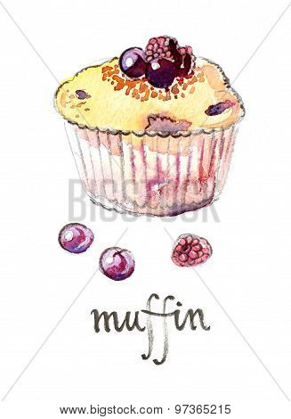 Watercolor Muffin With Fruits