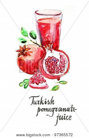 Watercolor Turkish Pomegranate Juice