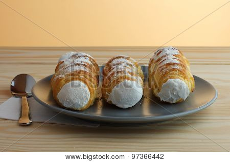 Sweet Tubes Filled Egg White, Czech Confection Called Kremrole.