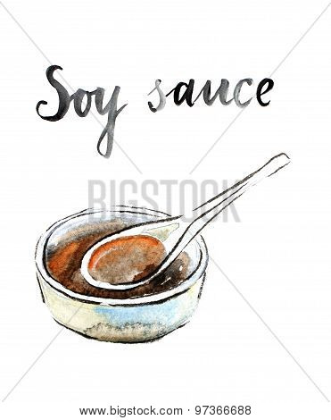 Watercolor Soy Sauce