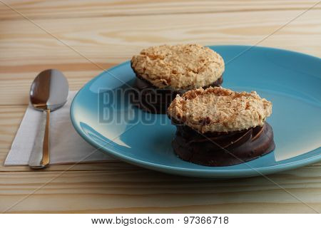 Coconut Cookies Filled Jam Covered With Chocolate