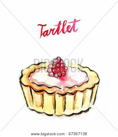 Watercolor Tartlet With Raspberry