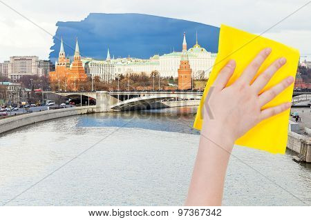 Hand Deletes Morning Moscow View By Yellow Cloth