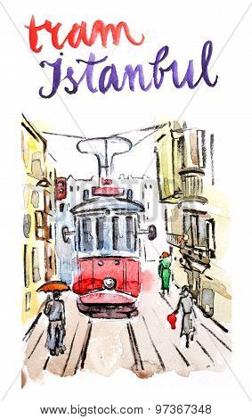 Watercolor Old Red Tram In Istanbul