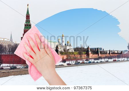 Hand Deletes Winter View Of Moscow By Pink Cloth