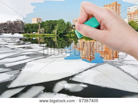 Hand Deletes Ice Floe Near Waterfront By Eraser