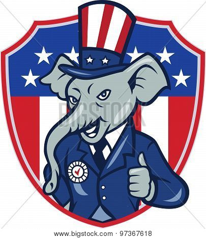 Republican Elephant Mascot Thumbs Up Usa Flag Cartoon