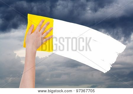 Hand Deletes Overcast Sky By Yellow Rag