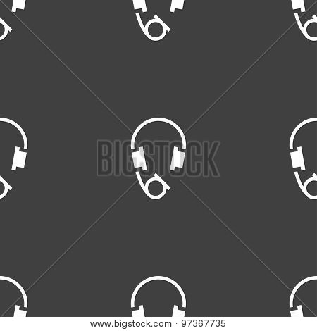 Headsets Icon Sign. Seamless Pattern On A Gray Background. Vector