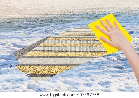 Hand Deletes Spring Snow By Yellow Cloth
