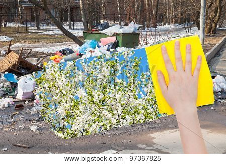 Hand Deletes Urban Trash By Yellow Cloth