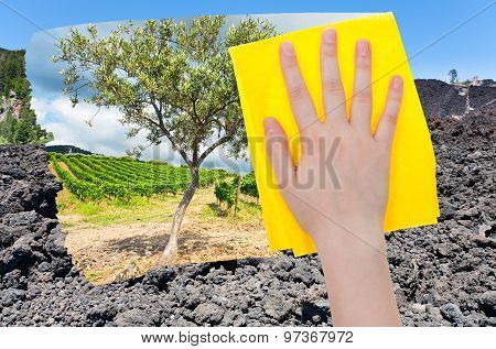 Hand Deletes Lava On Etna Volcano By Yellow Cloth