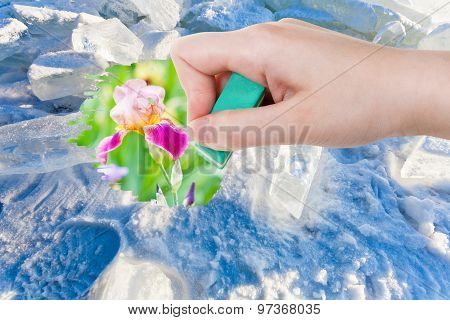 Hand Deletes Ice And Snow By Rubber Eraser