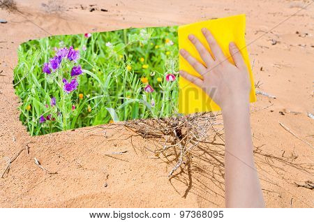 Hand Deletes Sand In Desert By Yellow Cloth