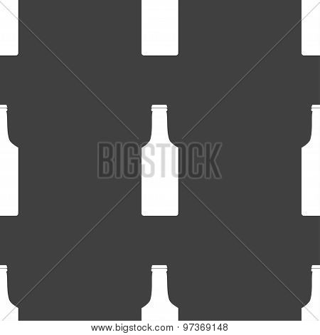 Bottle Icon Sign. Seamless Pattern On A Gray Background. Vector